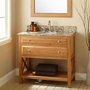 36quot narrow depth castine bamboo vanity for undermount sink for Narrow depth bathroom vanity