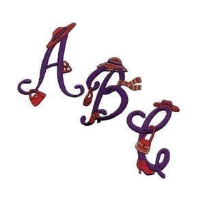 embroidered iron  script letter initial monogram appliques  white