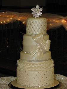 Traditional Wedding Cake With Bling - CakeCentral com