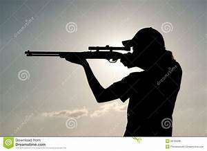 Silhouette Of A Young Man Shooting Royalty Free Stock ...