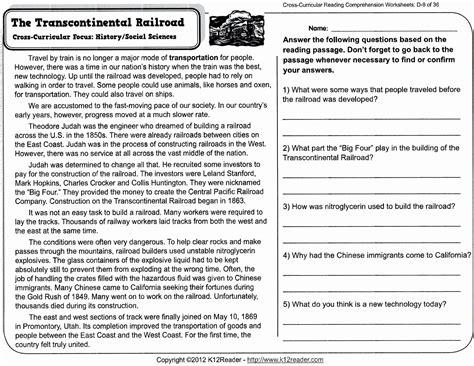 reading comprehension worksheets   grade  report