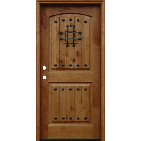 alder wood doors pacific entries 36 in x 80 in rustic arched 2 panel v