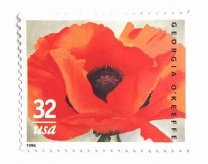 Georgia Poppy Stamps Keeffe Unused Painting Postage