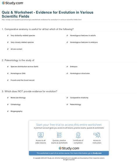 worksheets evidence of evolution worksheet answers