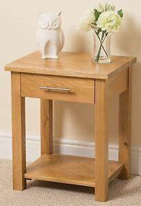 Oslo 100 Solid Oak Lamp Side Table 1 Drawer Living Room