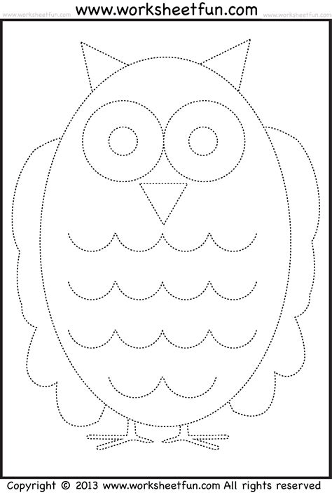 owl tracing and coloring 4 worksheets free 304 | picture tracing coloring wfun 8