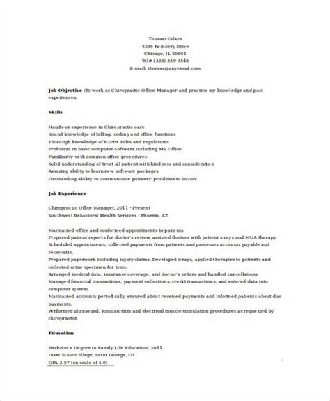 Resume For Chiropractic Assistant by State And Clear Objectives In Chiropractic Assistant