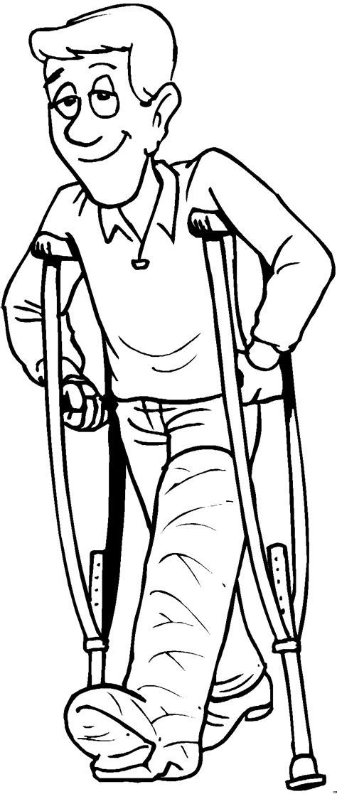 mann mit kruecke ausmalbild malvorlage medizin