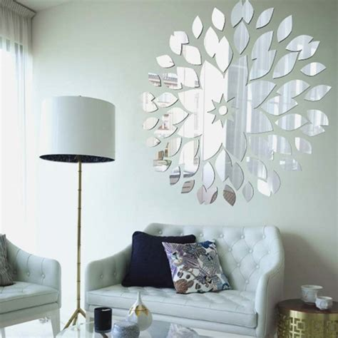 If you're looking for some fresh methods to put in a mirror to your bedroom, bathroom, living room or a different space the skos circle mirror with fringe and chain brass detail wall mirror hanging stained glass mirror modern mirror wall decor cfbda. Creative DIY Circle Flower Petals Acrylic Decorative Wall Mirror Stickers for Living Room… (With ...