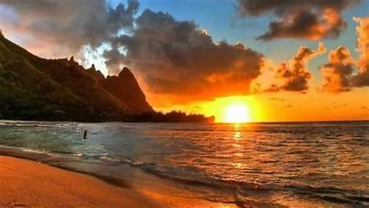 Sunset Peaceful Beach Sunrise Calm Background Meditation