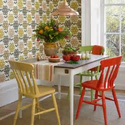 dining room with retro print wallpaper housetohome co uk