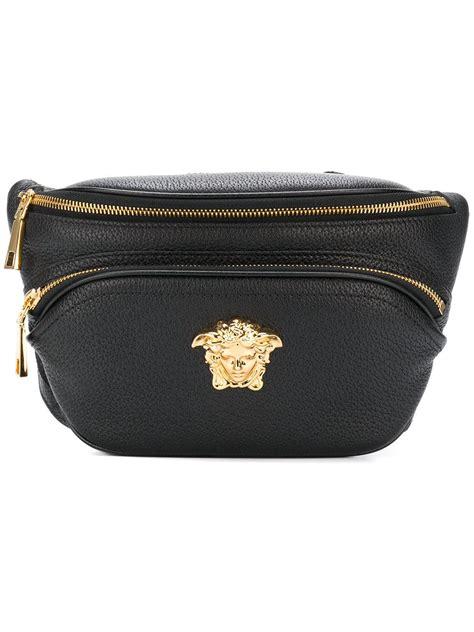 versace leather palazzo belt bag  black  men lyst