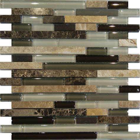 Samplemarble Stone Green Brown White Glass Linear Mosaic