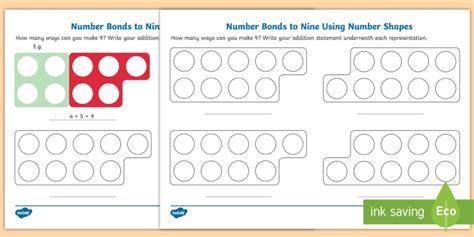 * New * Number Bonds To Nine Using Number Shapes Activity Sheet