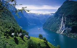 Landscape, Fjord, Norway, Water, Sea, Ocean, Buildings