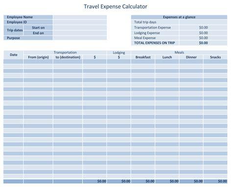 travel expense log templates  calculators  excel