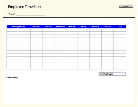 Timesheet Template Printable Time Sheets Free Printable Employee Timesheets