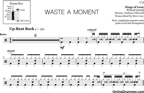 Waste Of A Moment  Kings Of Leon  Drum Sheet Music