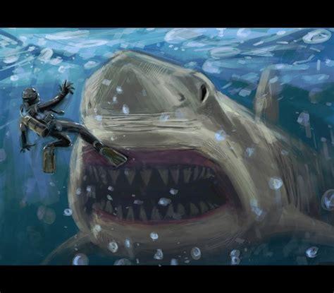 giant monster shark  saturnhaynesdeviantartcom
