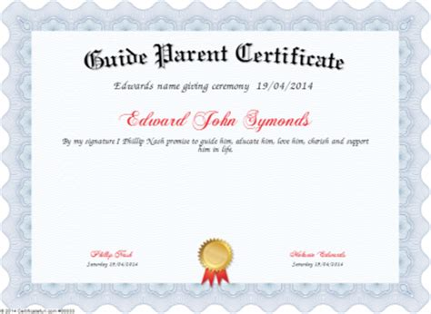 guide parent certificate