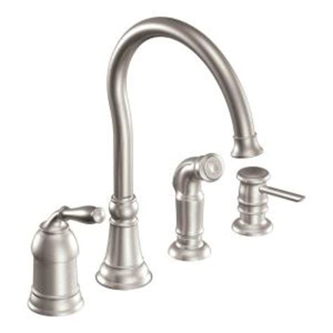 moen lindley single handle side sprayer kitchen faucet in spot resist stainless with soap