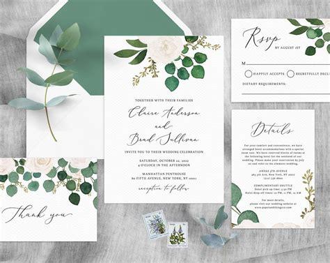 Eucalyptus & White Floral Wedding Invitation Template ...
