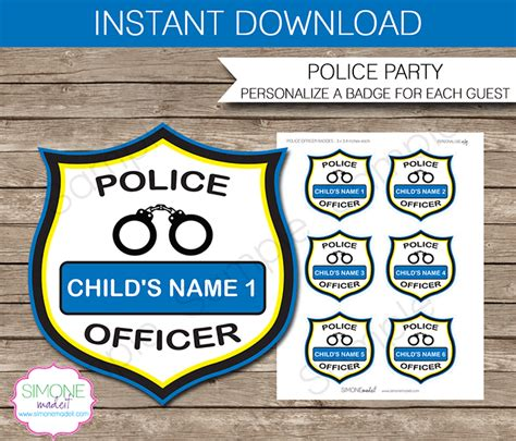 police badge craft for preschool officer badges birthday template 156