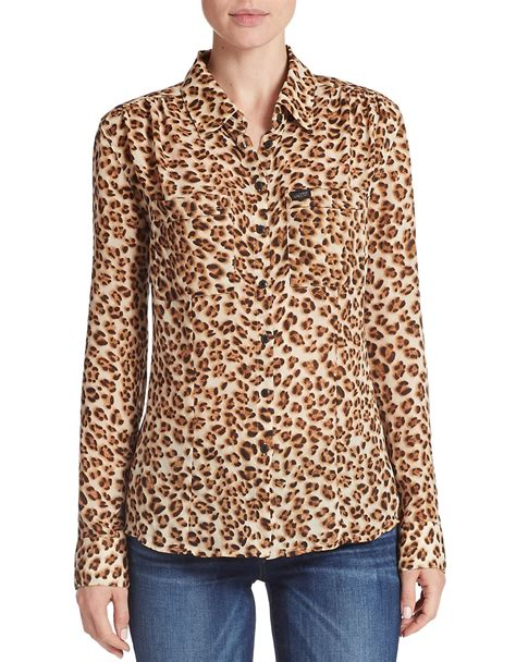 leopard print blouses lyst guess leopard print blouse in brown