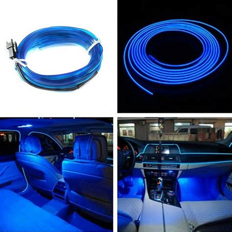 Blue Led Light Glow Wire String Strip Rope Tube