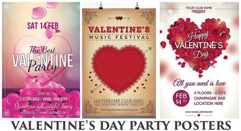 valentines club party poster  petals