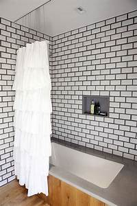 red white and grey subway tile designs furnitureteamscom With white bathroom tiles with black grout