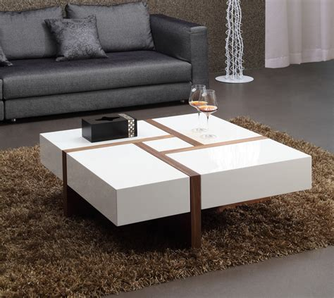 White Living Room Table Ls by Modrest Makai Modern White Walnut Square Coffee Table