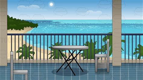 hotel balcony overlooking  beach background clipart