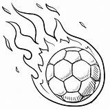 Soccer Ball Coloring Pages Drawing Flames sketch template