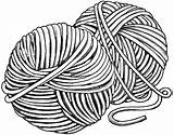 Yarn Ball Clip Clipart String Drawing Line Crochet Wool Tattoo Balls Cliparts Hat Easy Outline Knit Sketch Cat Coloring Library sketch template