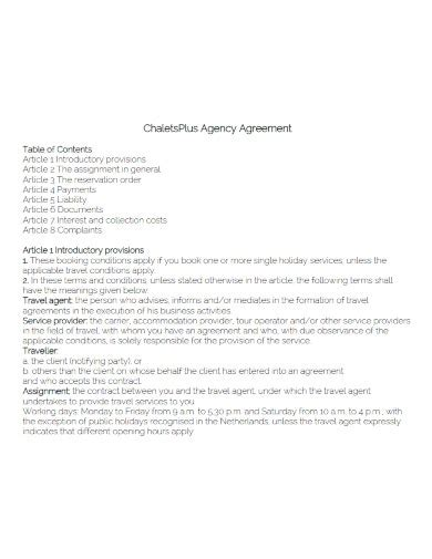 travel agency agreement templates