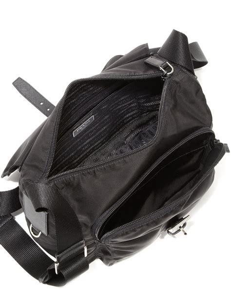lyst prada nylon leather crossbody bag  black
