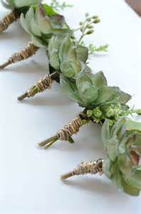 boutineer flowers rustic boutonniere green succulents