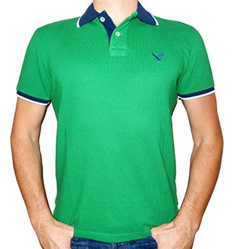 American Eagle Outfitters Menu0026#39;s Classic Fit Mesh Tipped Polo T-shirt (X-Small Green/Navy Blue ...