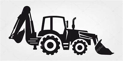 Tractor Excavator Trattore Silhouette Bagger Excavatrice Clip