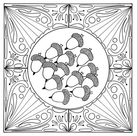 fall acorn mandala adult coloring page favecraftscom