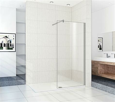 walk  shower enclosure tray glass panels mm