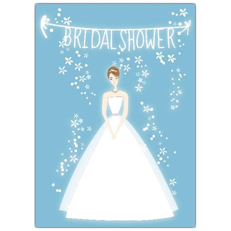 bride blue bridal shower invitations paperstyle
