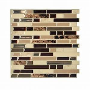 Smart tiles bellagio keystone 1000 in x 1006 in peel for Self stick backsplash tiles home depot