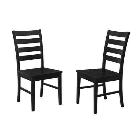 ladder back seat dining chairs wood ladder back dining chair set of 2 black 9668