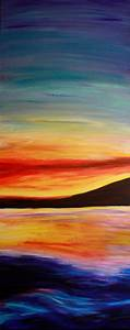 Ocean Sunset Acrylic Painting on 16x40 inch on by ...