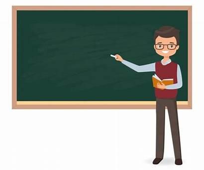 Cartoon Blackboard Male Teacher Writing Young Schultafel
