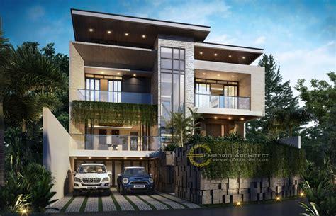 desain rumah mewah style modern tropis  lantai  lebih