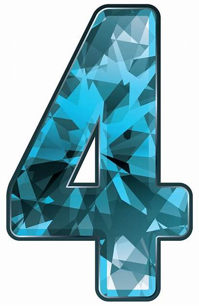 Number Four Clipart Crystal Numbers Transparent Clip