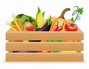 Wooden Box With Fresh And Healthy Vegetables Vector